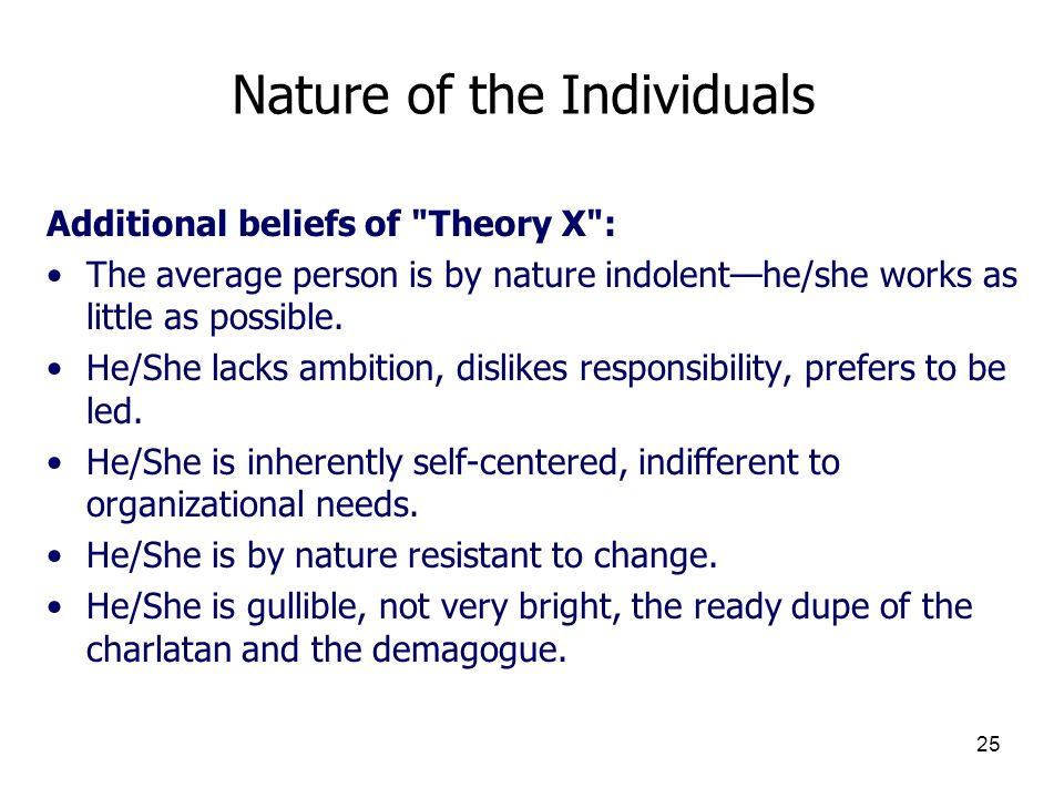 25 Nature of the Individuals Additional beliefs of