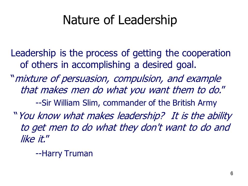 7 Types of Leaders Formal leaders are appointed branch manager or committee chair or team captain and have the advantage of formal authority (including the power to reward and punish), but this only gives them the opportunity to prove themselves effective at leadership.