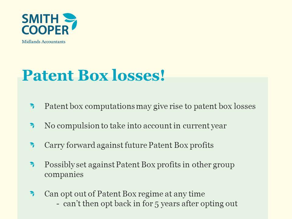 Patent Box losses.