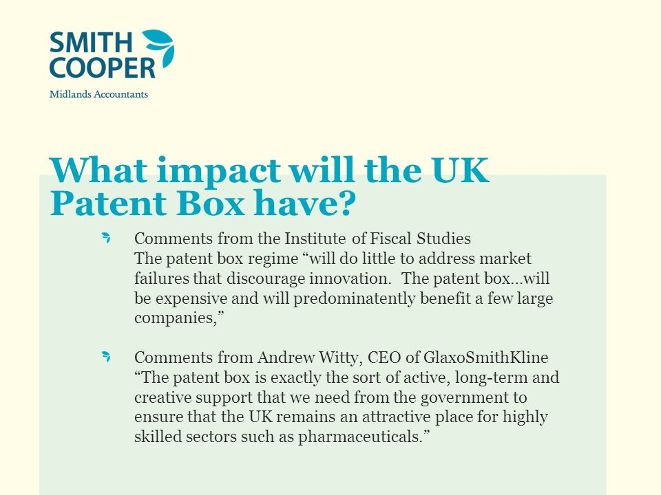 What impact will the UK Patent Box have.