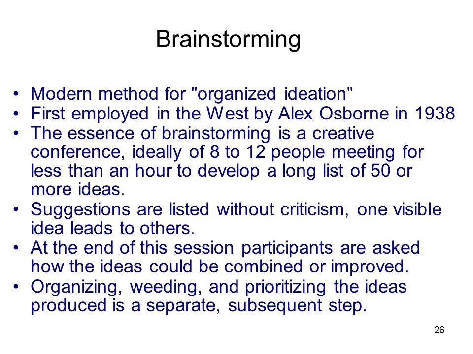 26 Brainstorming Modern method for