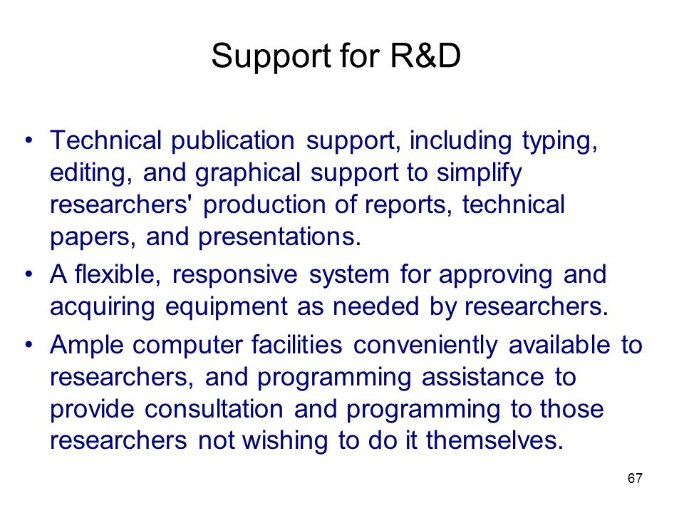 67 Support for R&D Technical publication support, including typing, editing, and graphical support to simplify researchers' production of reports, tec