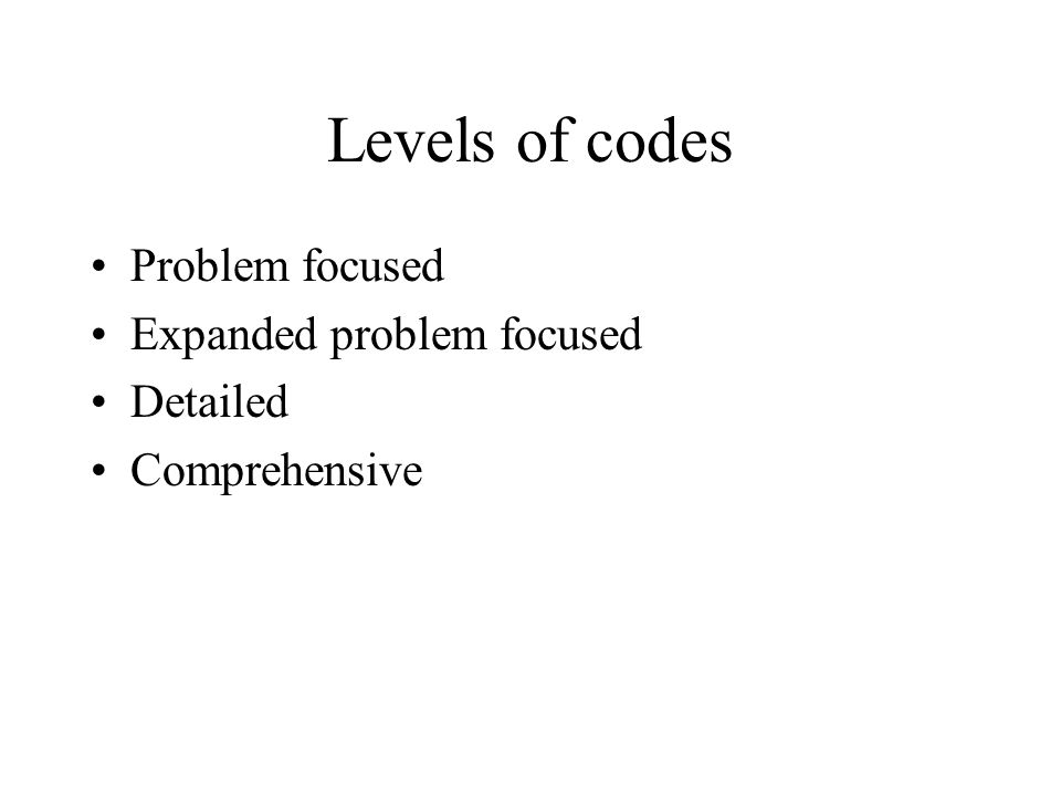 Levels of codes Problem focused Expanded problem focused Detailed Comprehensive