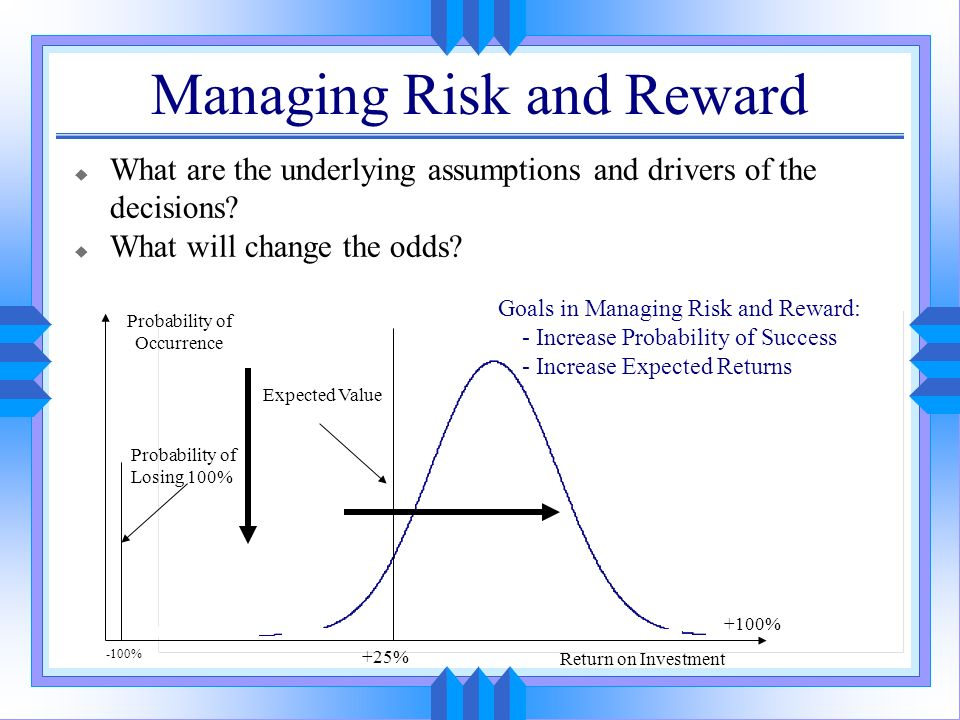 Managing Risk and Reward u What are the underlying assumptions and drivers of the decisions? u What will change the odds? Return on Investment +25% Pr