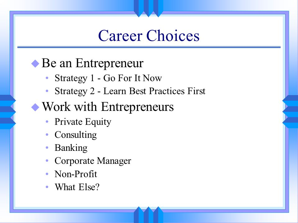 Career Choices u Be an Entrepreneur Strategy 1 - Go For It Now Strategy 2 - Learn Best Practices First u Work with Entrepreneurs Private Equity Consul