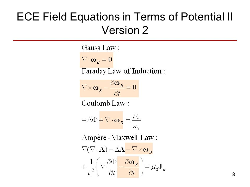 9 ECE Field Equations in Terms of Potential with cold currents II, Version 1 ρ e0, J e0 : normal charge density and current ρ e1, J e1 : cold charge density and current