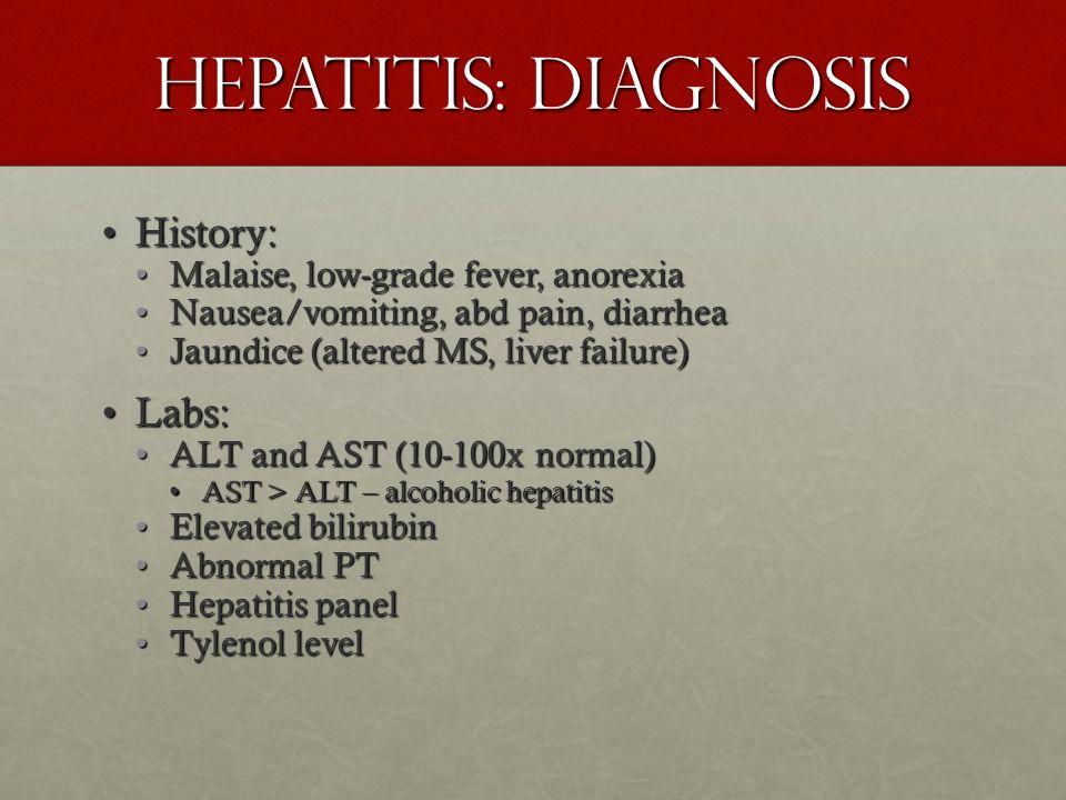Hepatitis: Diagnosis History:History: Malaise, low-grade fever, anorexiaMalaise, low-grade fever, anorexia Nausea/vomiting, abd pain, diarrheaNausea/v