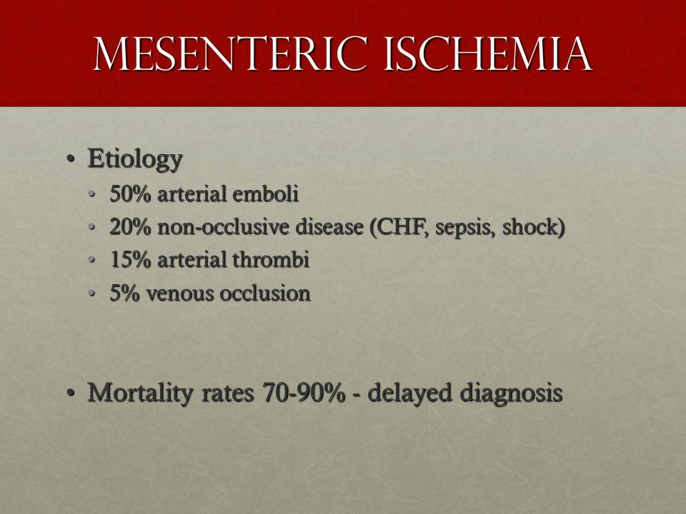 Mesenteric Ischemia EtiologyEtiology 50% arterial emboli50% arterial emboli 20% non-occlusive disease (CHF, sepsis, shock)20% non-occlusive disease (C