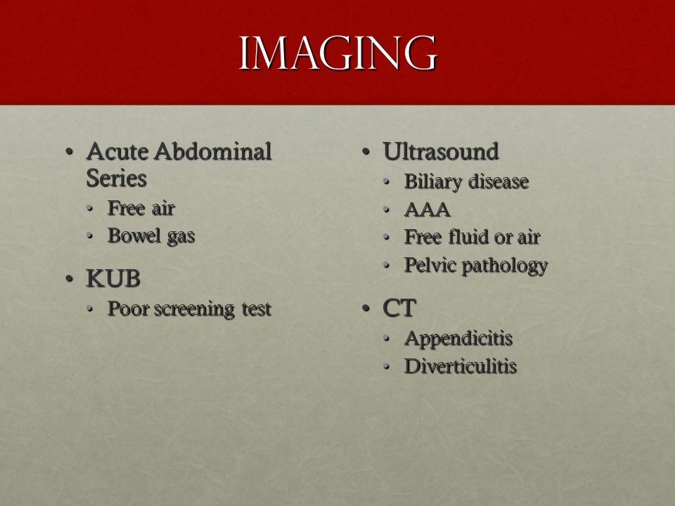 Imaging Acute Abdominal SeriesAcute Abdominal Series Free airFree air Bowel gasBowel gas KUBKUB Poor screening testPoor screening test UltrasoundUltra