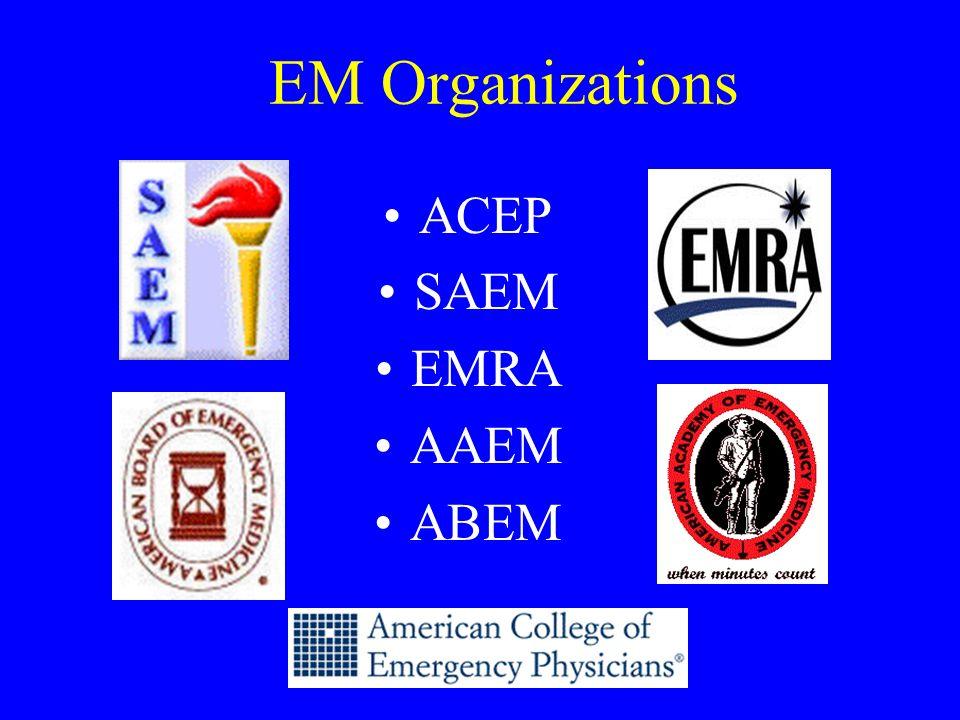 EM Organizations ACEP SAEM EMRA AAEM ABEM