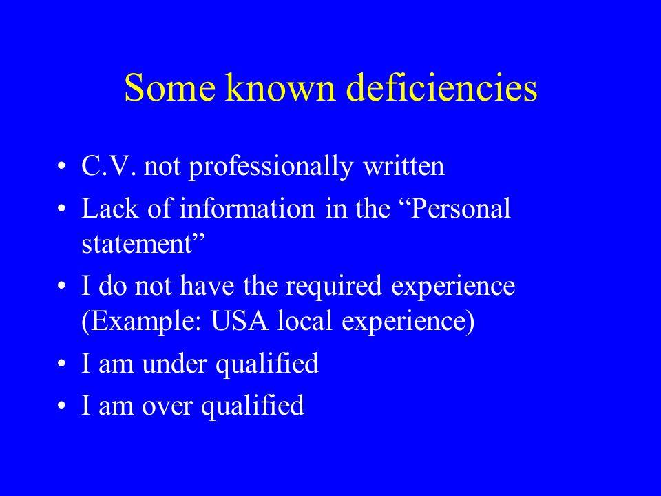 Some known deficiencies C.V.