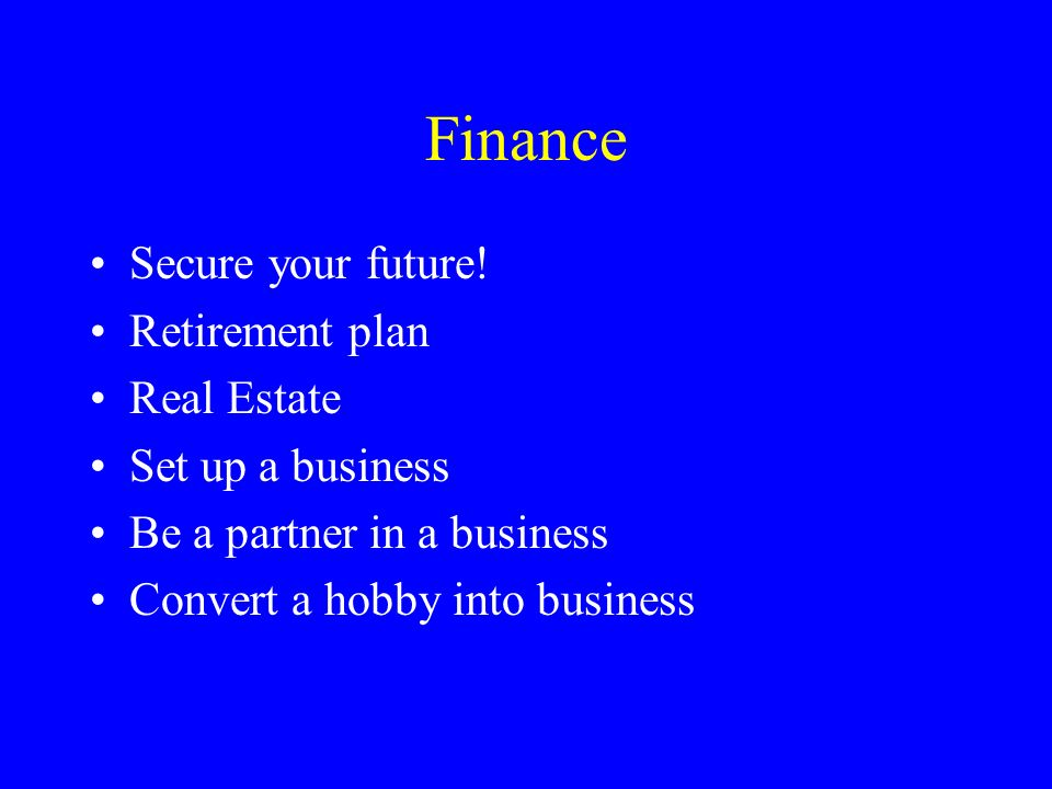 Finance Secure your future.
