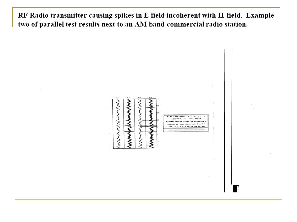 RF Radio transmitter causing spikes in E field incoherent with H-field. Example two of parallel test results next to an AM band commercial radio stati