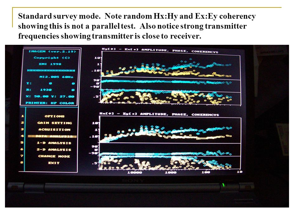 Standard survey mode. Note random Hx:Hy and Ex:Ey coherency showing this is not a parallel test. Also notice strong transmitter frequencies showing tr
