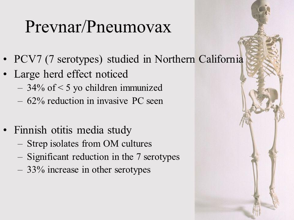 Prevnar/Pneumovax PCV7 (7 serotypes) studied in Northern California Large herd effect noticed –34% of < 5 yo children immunized –62% reduction in inva