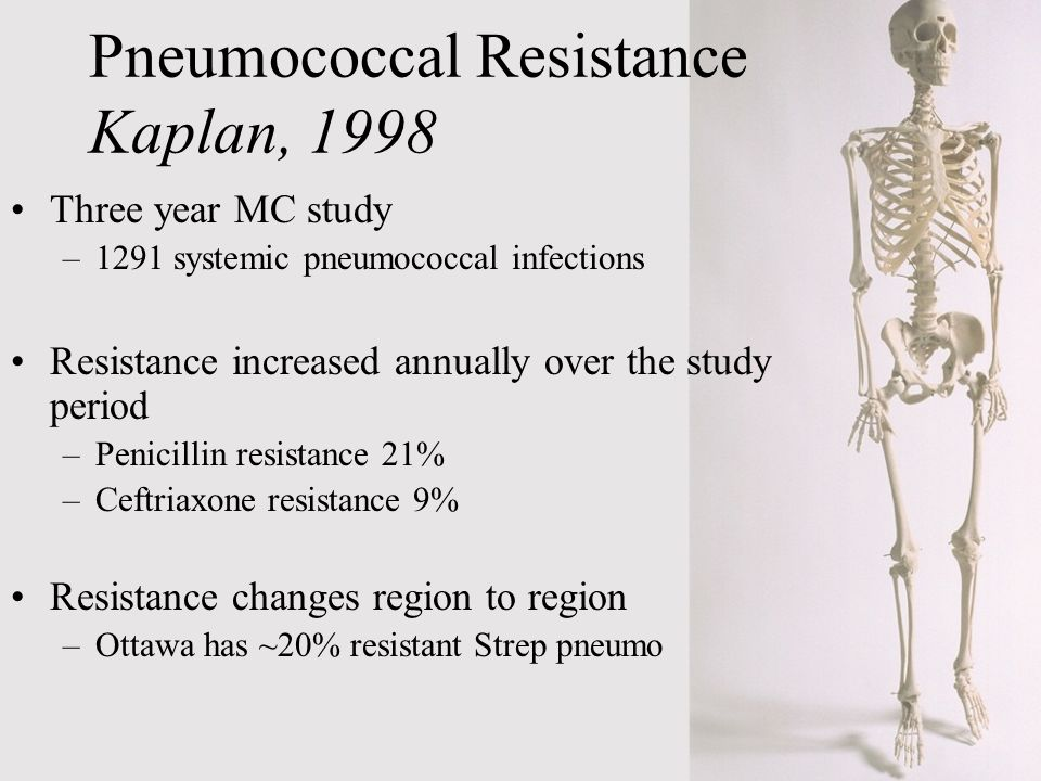 Pneumococcal Resistance Kaplan, 1998 Three year MC study –1291 systemic pneumococcal infections Resistance increased annually over the study period –P
