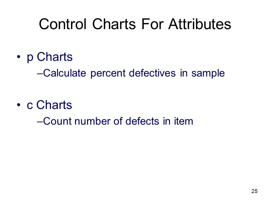 25 Control Charts For Attributes p Charts –Calculate percent defectives in sample c Charts –Count number of defects in item
