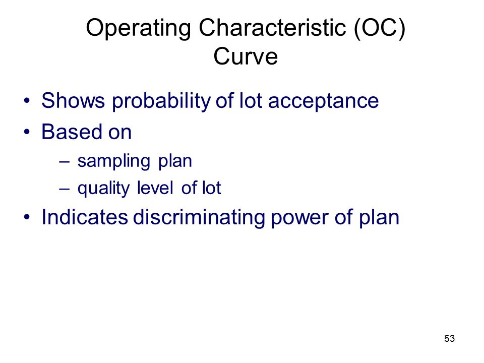 53 Operating Characteristic (OC) Curve Shows probability of lot acceptance Based on –sampling plan –quality level of lot Indicates discriminating powe