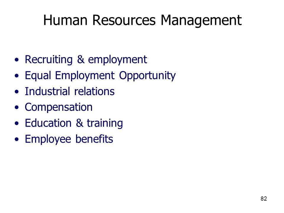 82 Human Resources Management Recruiting & employment Equal Employment Opportunity Industrial relations Compensation Education & training Employee ben