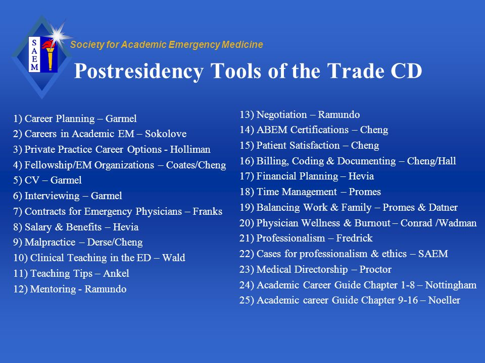 Society for Academic Emergency Medicine Postresidency Tools of the Trade CD 1) Career Planning – Garmel 2) Careers in Academic EM – Sokolove 3) Privat
