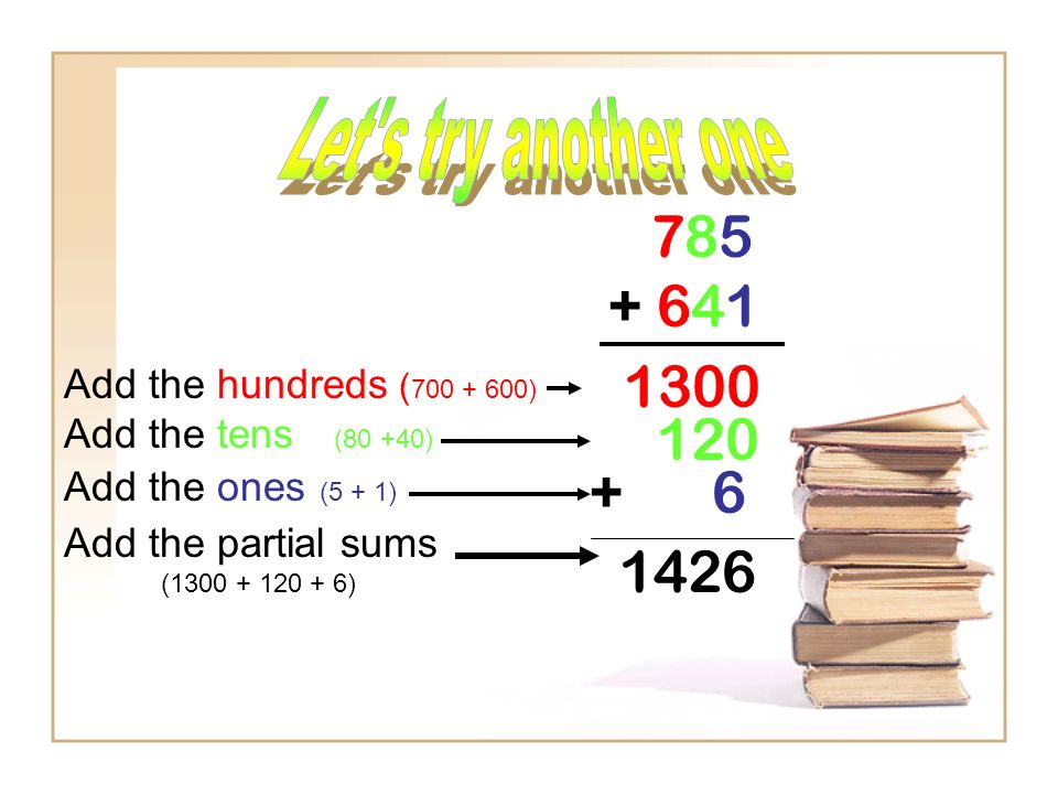 785 + 641 1300 Add the hundreds ( 700 + 600) 120 Add the tens (80 +40) Add the ones (5 + 1) Add the partial sums (1300 + 120 + 6) + 6 1426