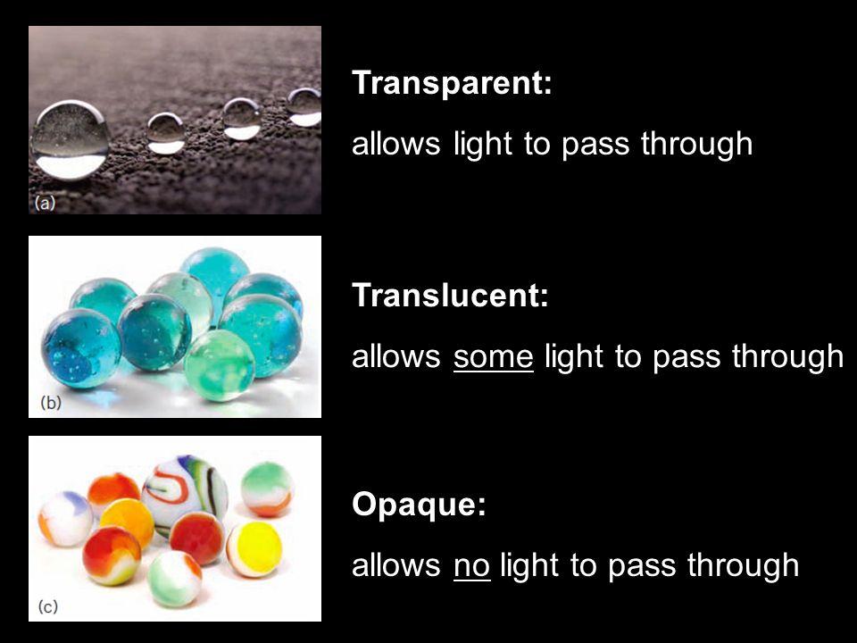 Transparent: allows light to pass through Translucent: allows some light to pass through Opaque: allows no light to pass through