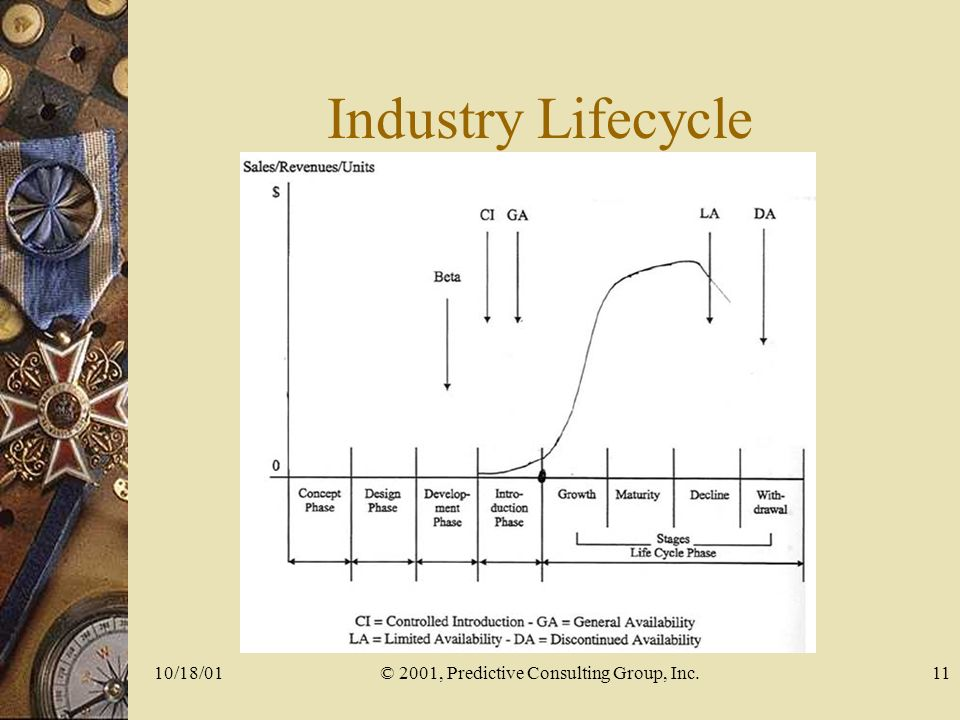 10/18/01© 2001, Predictive Consulting Group, Inc.11 Industry Lifecycle