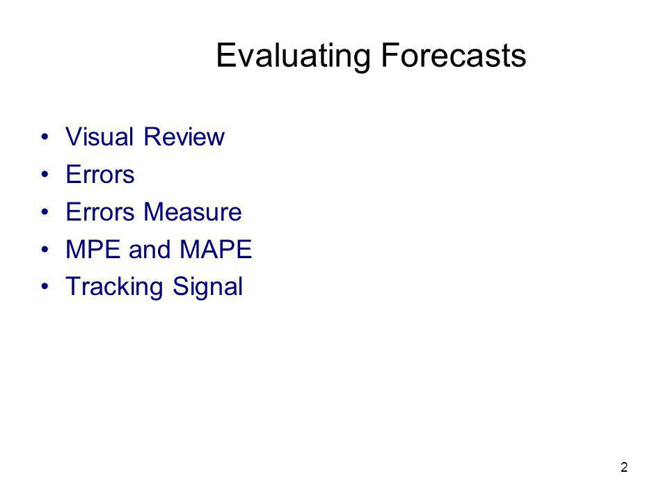 2 Evaluating Forecasts Visual Review Errors Errors Measure MPE and MAPE Tracking Signal