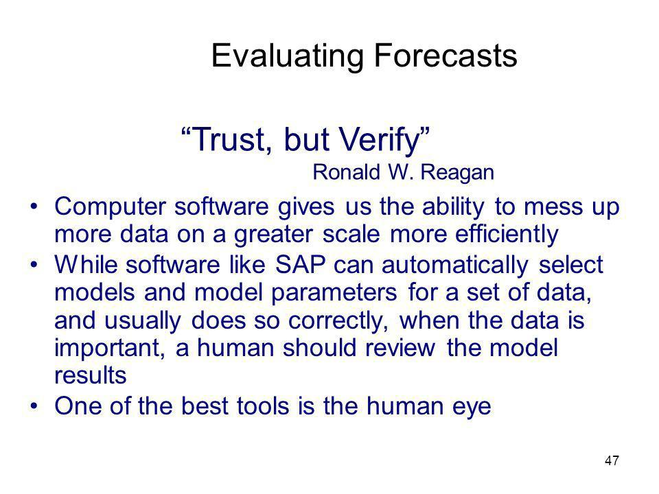 47 Evaluating Forecasts Trust, but Verify Ronald W. Reagan Computer software gives us the ability to mess up more data on a greater scale more efficie