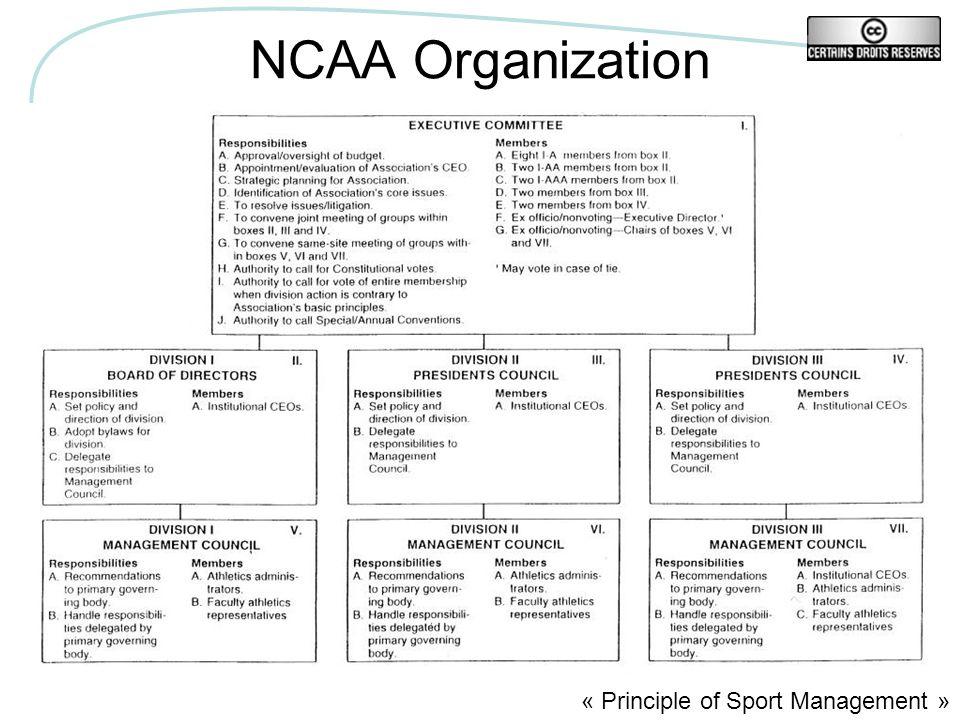 NCAA Organization « Principle of Sport Management »