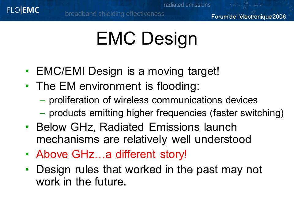 Forum de lélectronique 2006 EMC Design EMC/EMI Design is a moving target! The EM environment is flooding: –proliferation of wireless communications de
