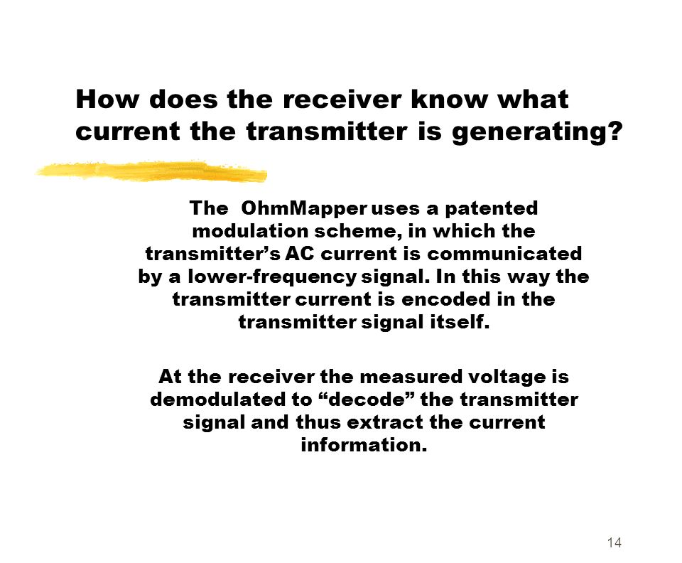 14 How does the receiver know what current the transmitter is generating? The OhmMapper uses a patented modulation scheme, in which the transmitters A