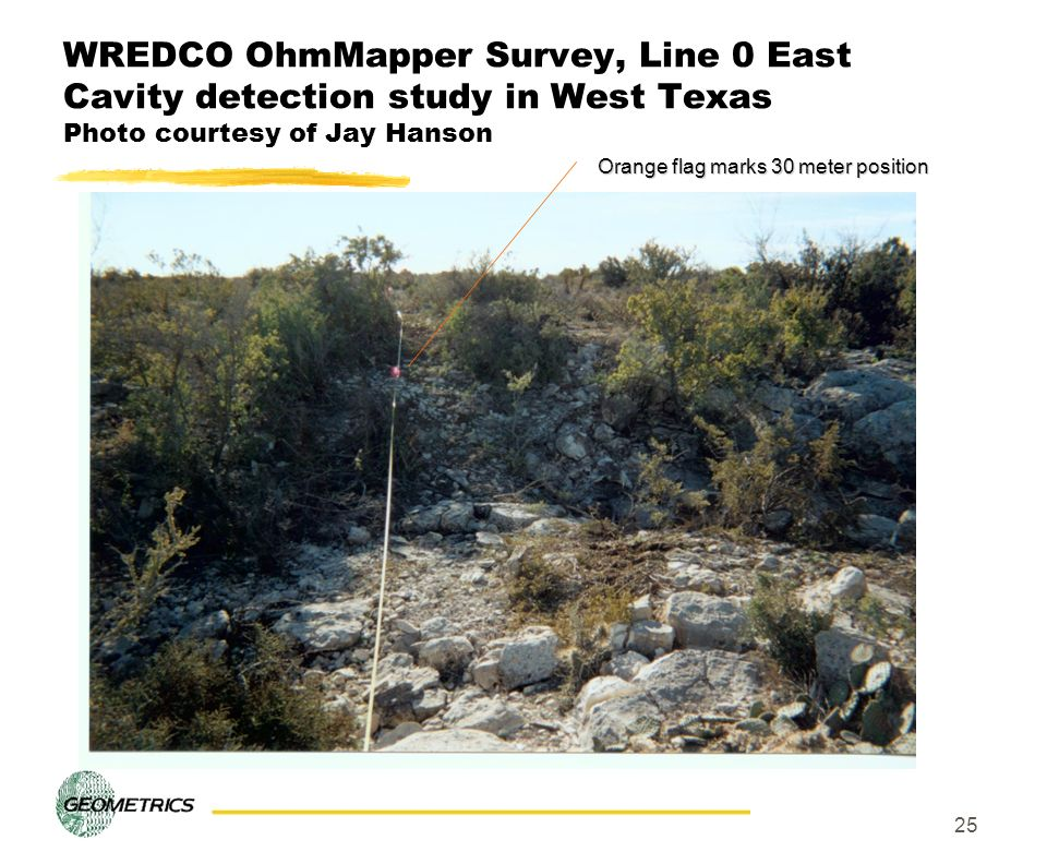 25 WREDCO OhmMapper Survey, Line 0 East Cavity detection study in West Texas Photo courtesy of Jay Hanson Orange flag marks 30 meter position
