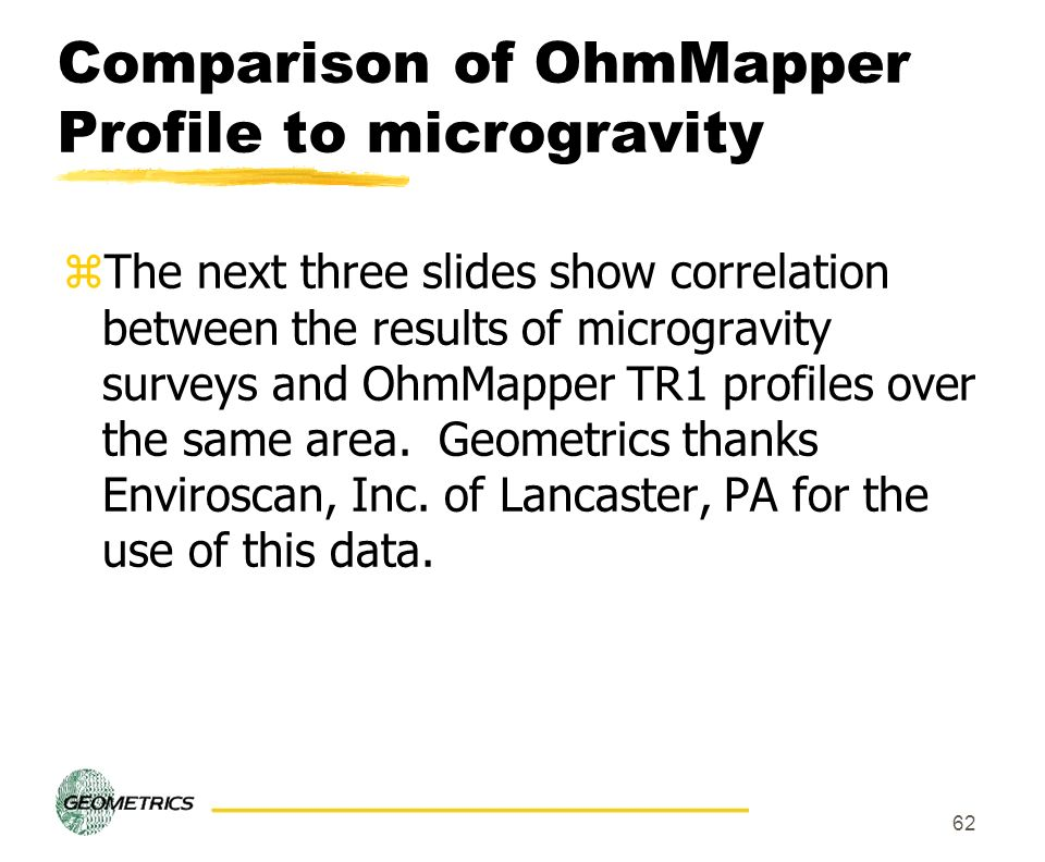 62 Comparison of OhmMapper Profile to microgravity zThe next three slides show correlation between the results of microgravity surveys and OhmMapper T