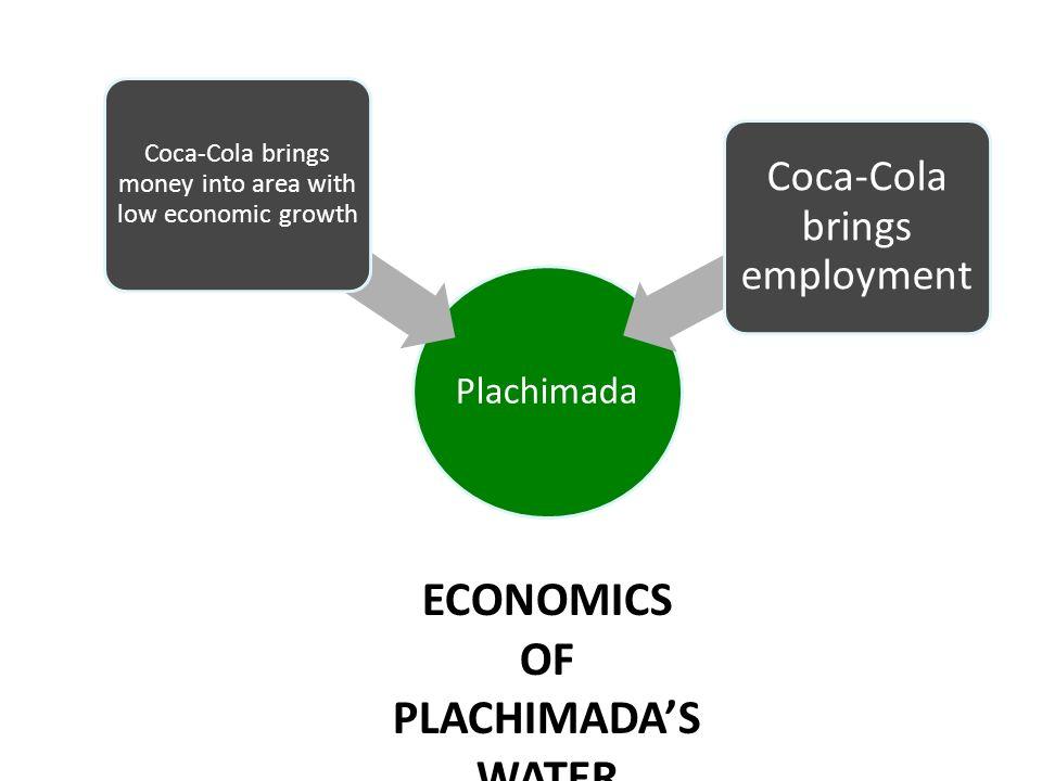 Plachimada Coca-Cola brings money into area with low economic growth Coca-Cola brings employment ECONOMICS OF PLACHIMADAS WATER
