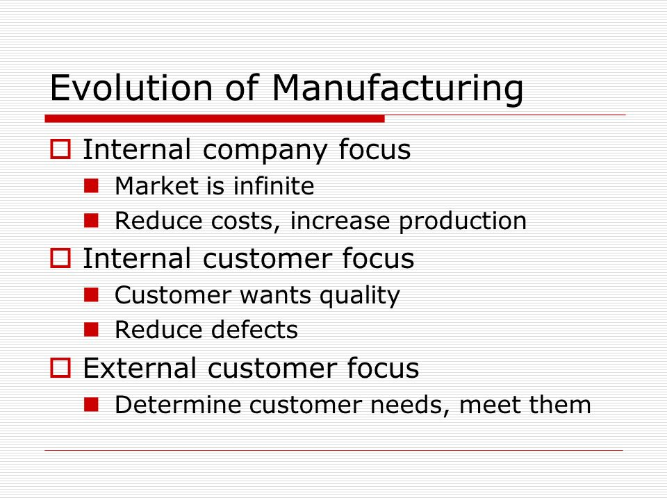 Evolution of Manufacturing Internal company focus Market is infinite Reduce costs, increase production Internal customer focus Customer wants quality