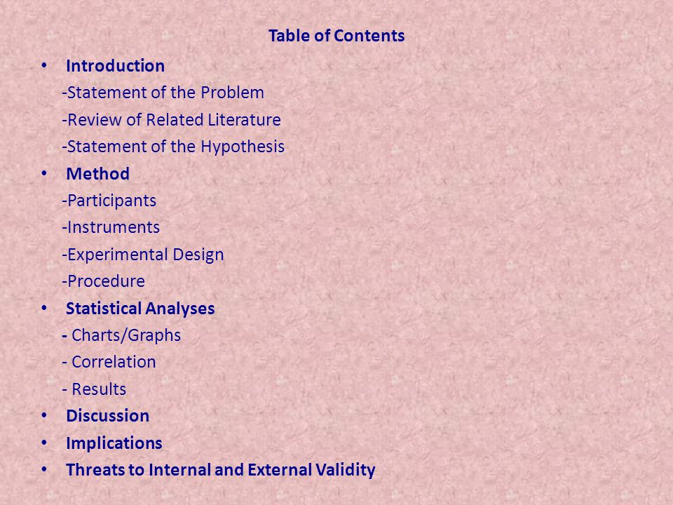 Table of Contents Introduction -Statement of the Problem -Review of Related Literature -Statement of the Hypothesis Method -Participants -Instruments -Experimental Design -Procedure Statistical Analyses - Charts/Graphs - Correlation - Results Discussion Implications Threats to Internal and External Validity