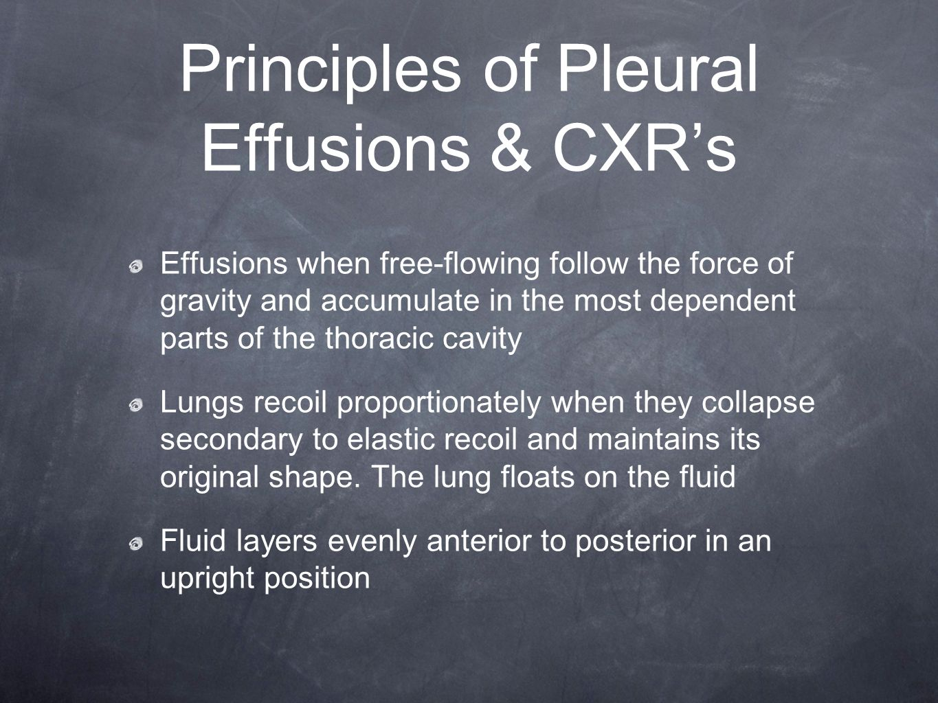 CXR Features of Subpulmonic Effusions Up to 1 liter can be present without blunting of the diaphragms Elevated hemidiaphragm peaks more laterally than expected with a steep lateral slope Pulmonary vessels are not clearly visible below the surface of the hemidiaphragm on lateral projection A lateral decubitus view will show free flowing pleural fluid parallel to the xray table