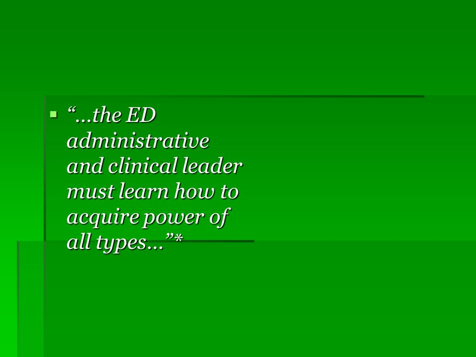 Emergency Department Director Purpose of the Position ( ACEP Guidelines 1998) Provide leadership & management for the ED Provide leadership & management for the ED Work cooperatively with ED staff to provide emergency services to patients Work cooperatively with ED staff to provide emergency services to patients To work cooperatively with diagnostic and therapeutic services to ensure availability, quality, and effective use of services To work cooperatively with diagnostic and therapeutic services to ensure availability, quality, and effective use of services To provide input into preparation of departmental budget To provide input into preparation of departmental budget Monitor community needs and provide input into EMS and disaster planning Monitor community needs and provide input into EMS and disaster planning Aric Storck.