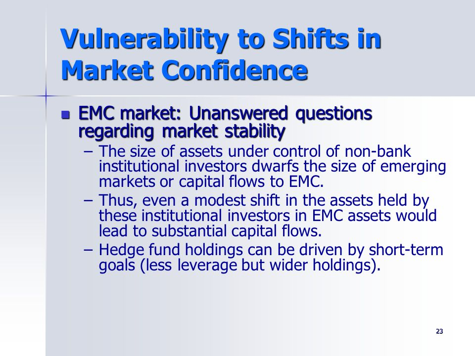 23 Vulnerability to Shifts in Market Confidence EMC market: Unanswered questions regarding market stability EMC market: Unanswered questions regarding