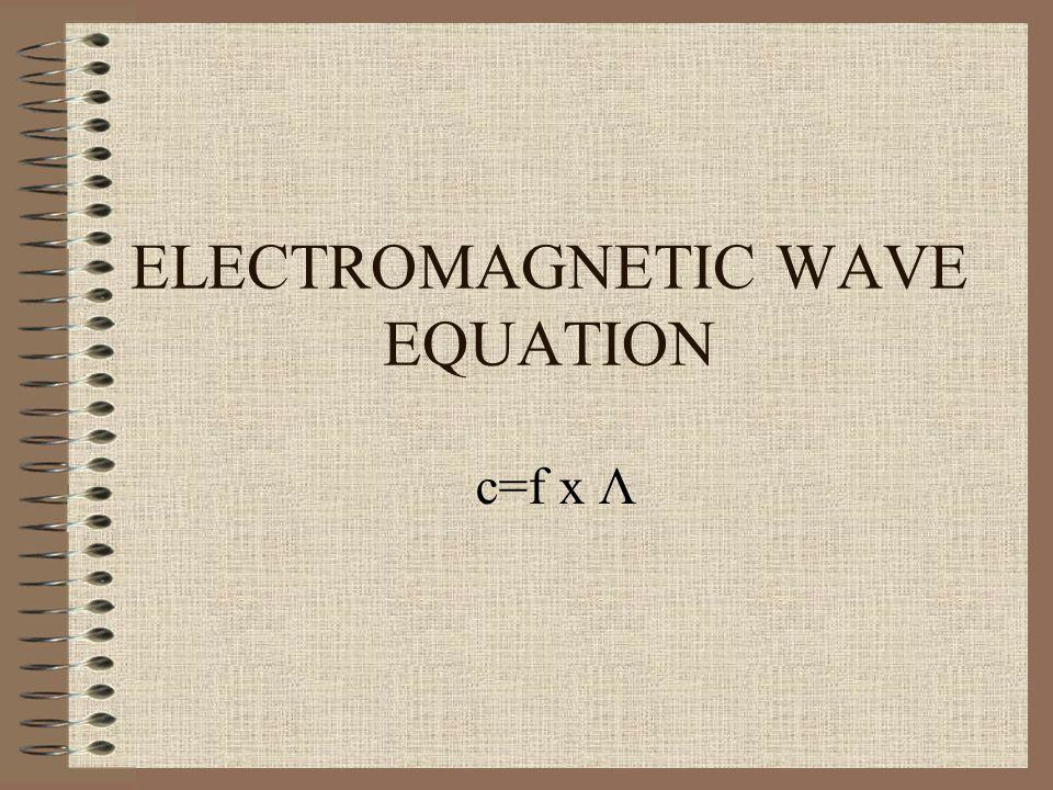 ELECTROMAGNETIC WAVE EQUATION c=f x Λ
