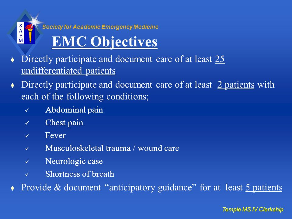 Society for Academic Emergency Medicine EMC Objectives Directly participate and document care of at least 25 undifferentiated patients Directly partic