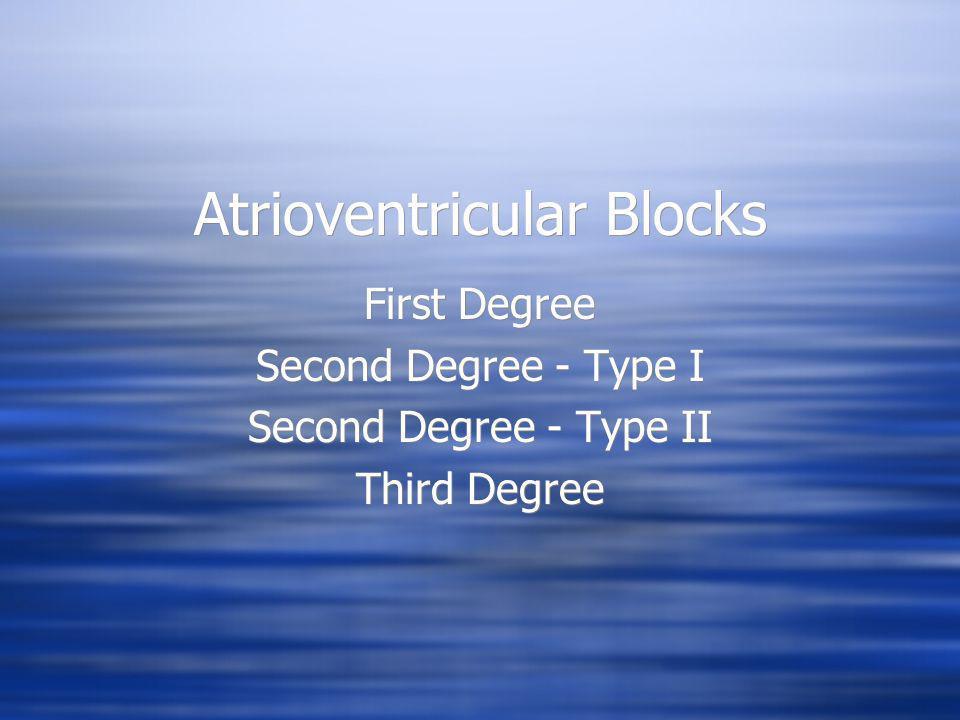 Atrioventricular Blocks First Degree Second Degree - Type I Second Degree - Type II Third Degree First Degree Second Degree - Type I Second Degree - T
