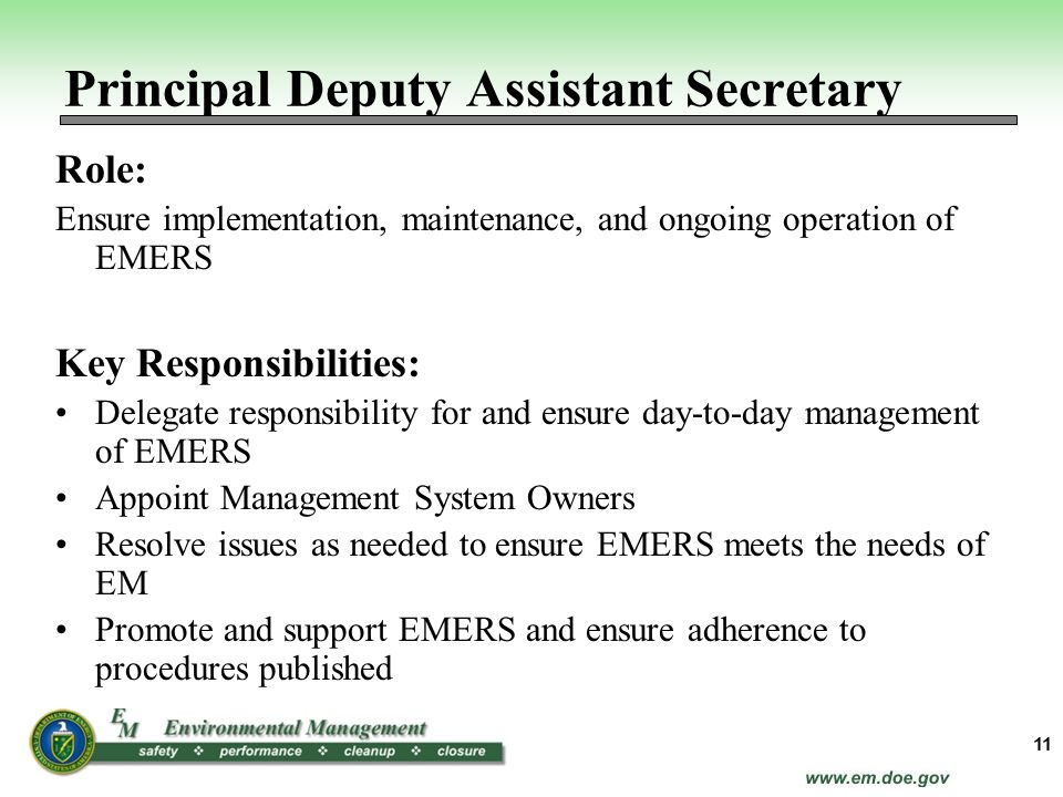 Role: Ensure implementation, maintenance, and ongoing operation of EMERS Key Responsibilities: Delegate responsibility for and ensure day-to-day manag