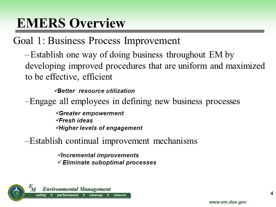 Goal 1: Business Process Improvement –Establish one way of doing business throughout EM by developing improved procedures that are uniform and maximiz