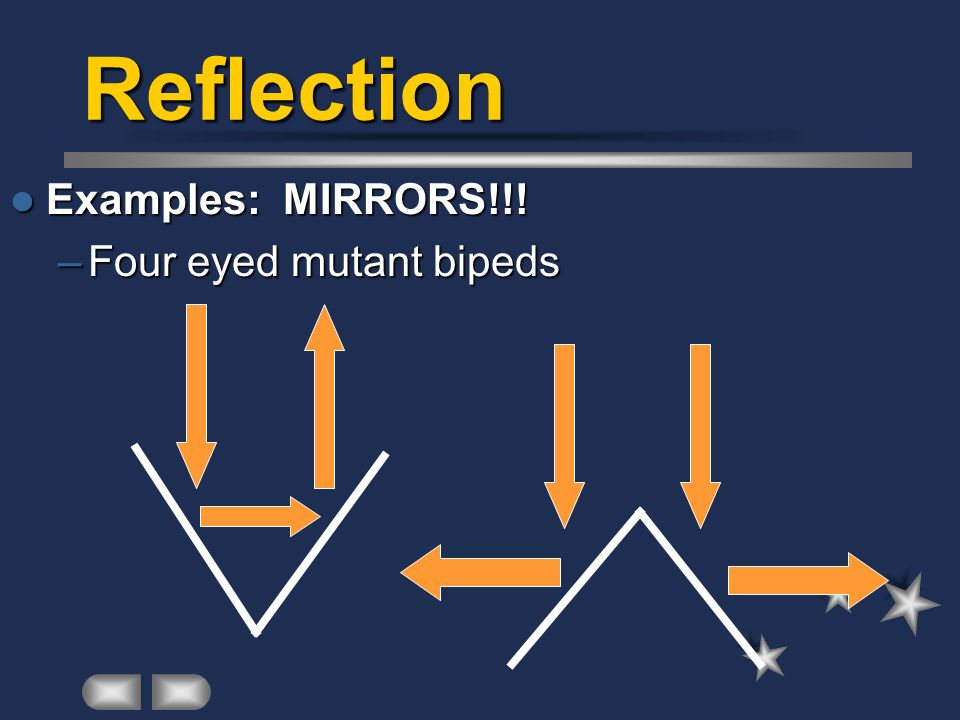 Reflection Examples: MIRRORS!!! Examples: MIRRORS!!! –Four eyed mutant bipeds