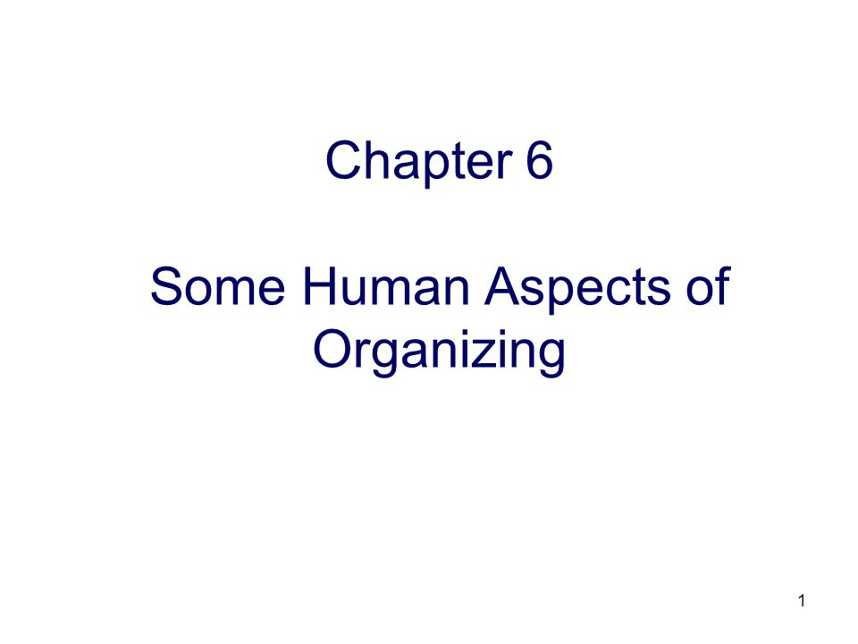 1 Chapter 6 Some Human Aspects of Organizing