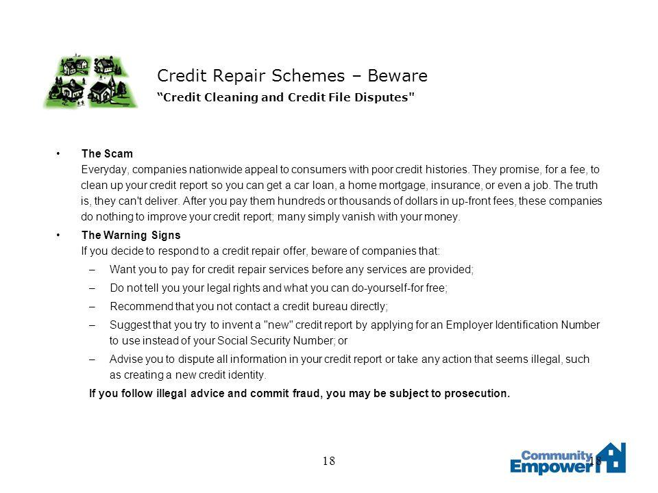 18 Credit Repair Schemes – Beware Credit Cleaning and Credit File Disputes