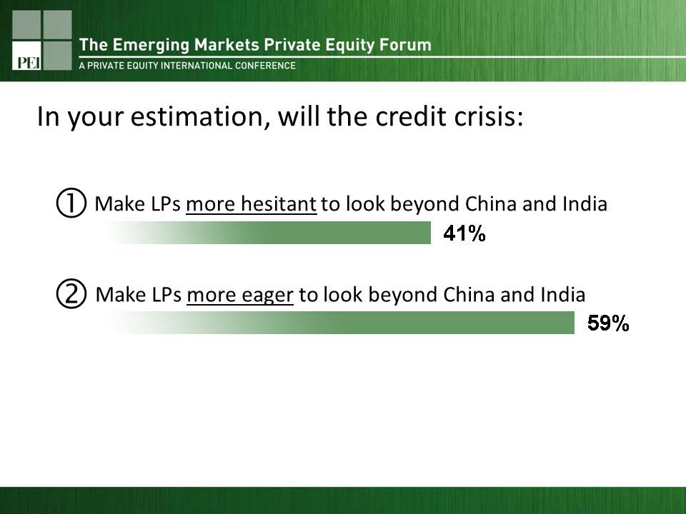Make LPs more hesitant to look beyond China and India Make LPs more eager to look beyond China and India In your estimation, will the credit crisis: