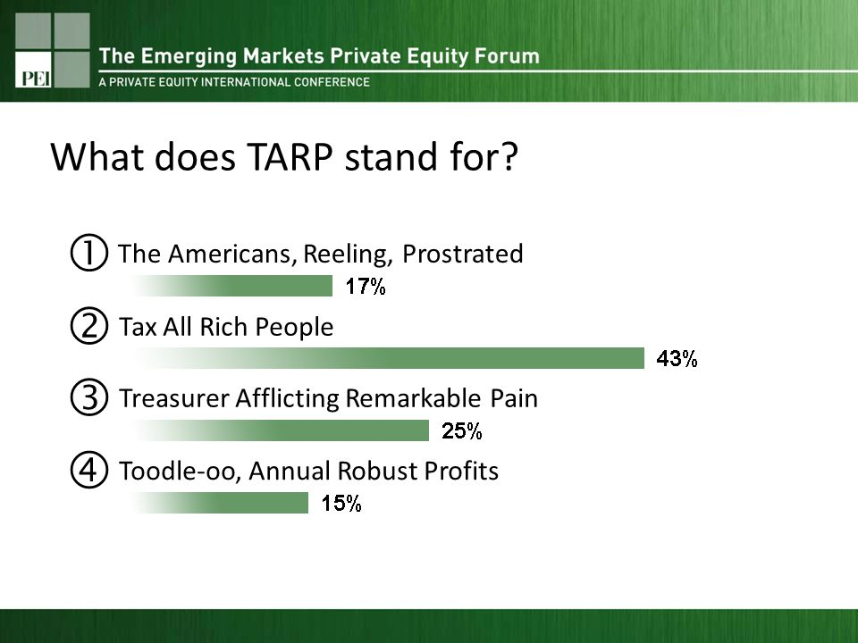 The Americans, Reeling, Prostrated Tax All Rich People Treasurer Afflicting Remarkable Pain Toodle-oo, Annual Robust Profits What does TARP stand for?
